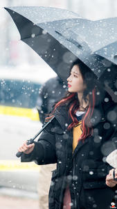 Sana (of Twice) Standing In The Snow, Being Beautiful