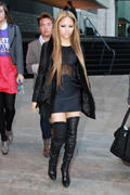 Kat Deluna  - fashion week  short dress and thigh high boots